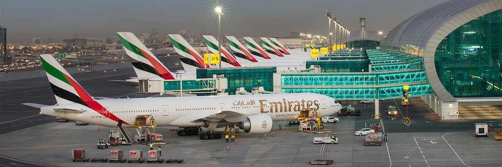 Emirates planes at DXB Airport