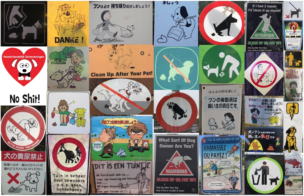 Montage of different dog poo signs from various countries