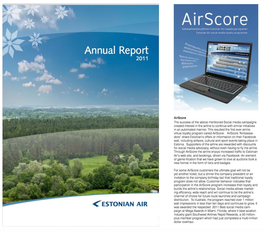 Estonian Air annual report featuring Airscore