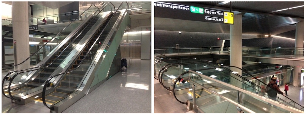 "Images of ""C"" escalators operating downward"