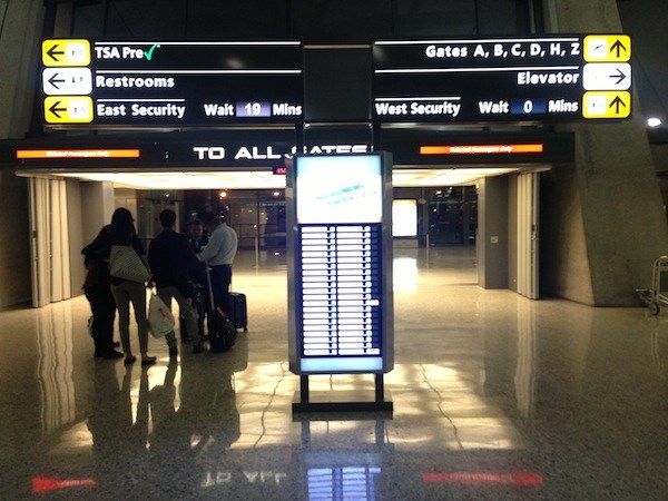 Image showing posted security wait times at IAD