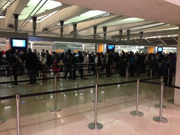 Long security line at IAD