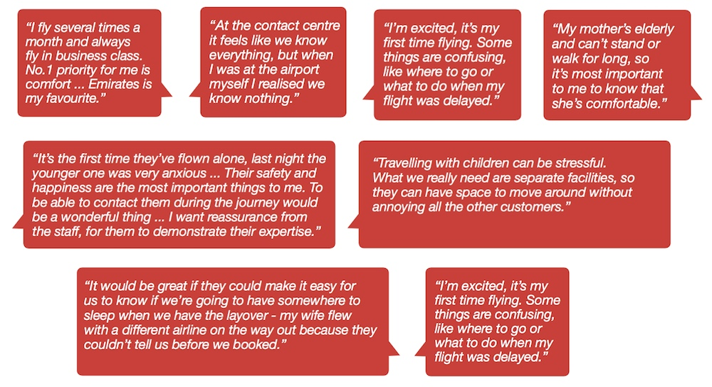 Quotes from passenger research process