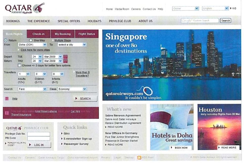 Qatar Airways homepage 2008