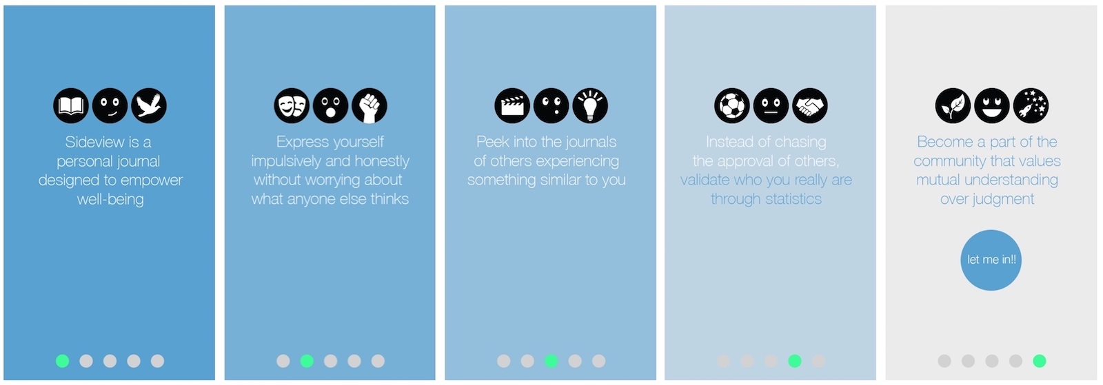 Sideview app introduction screens