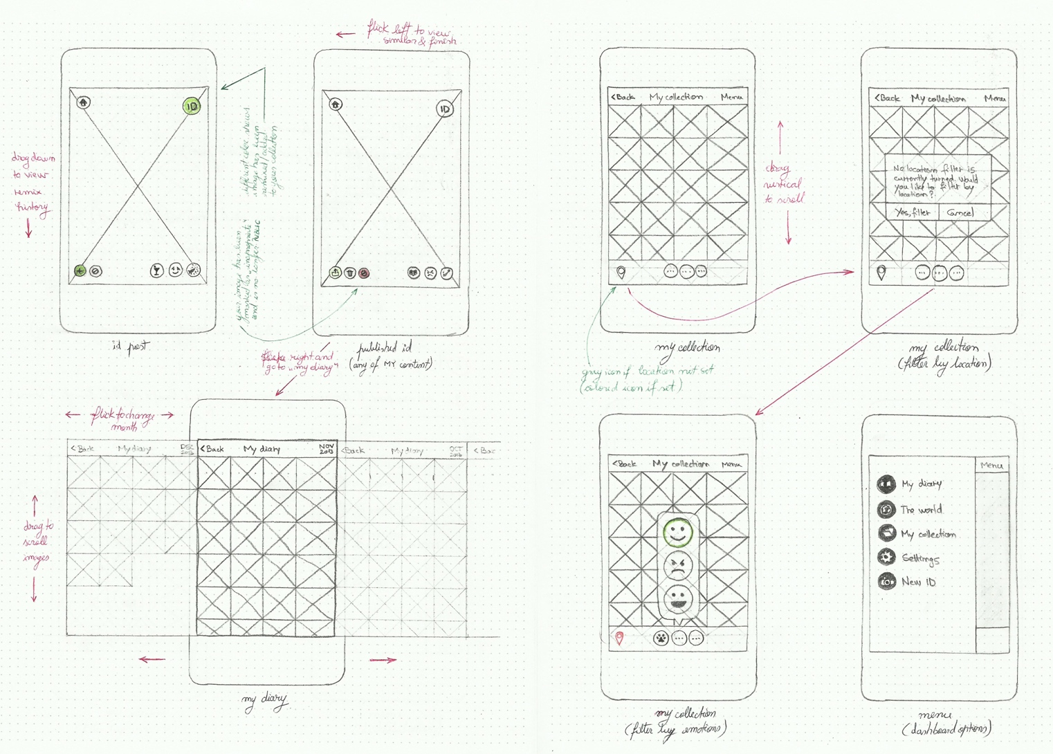 Early mock sketches of Sideview app