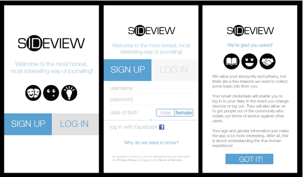 Sideview signup screens